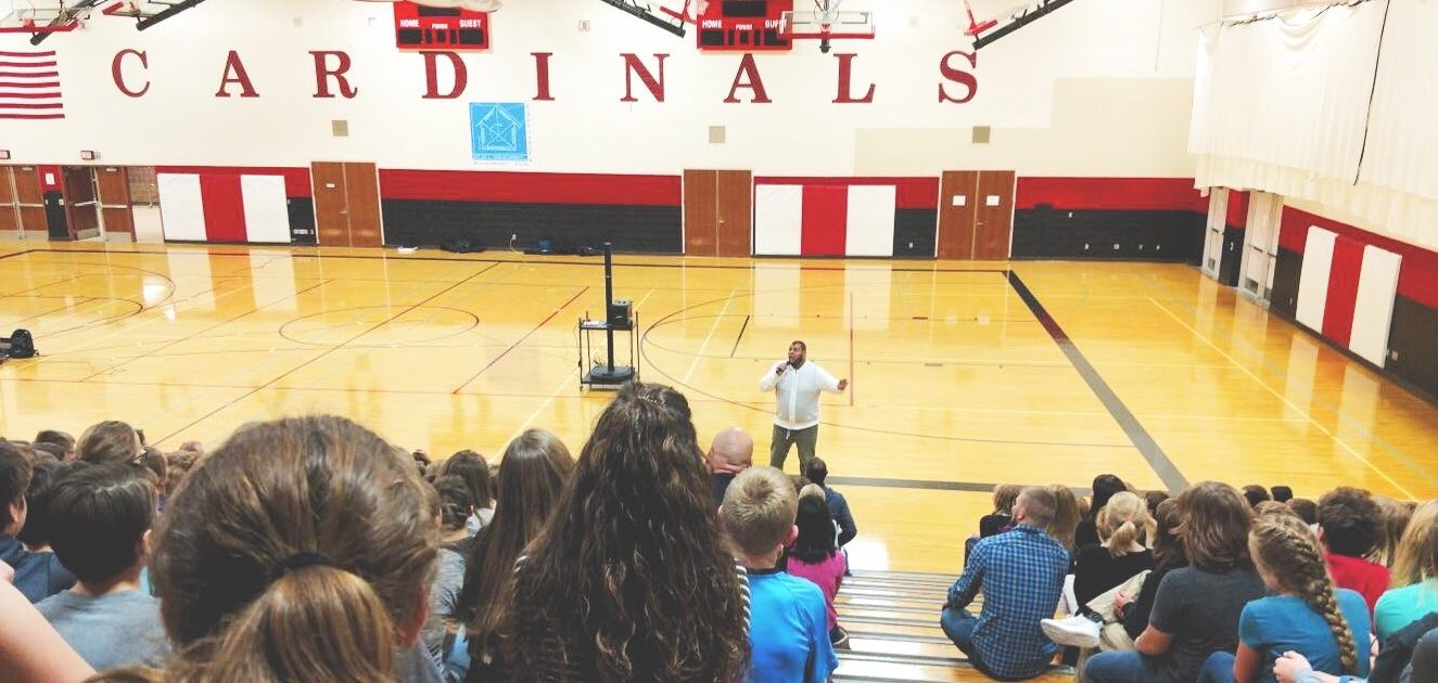Bobby Jones speaking at Discovery Middle School in Alexandria, Minnesota